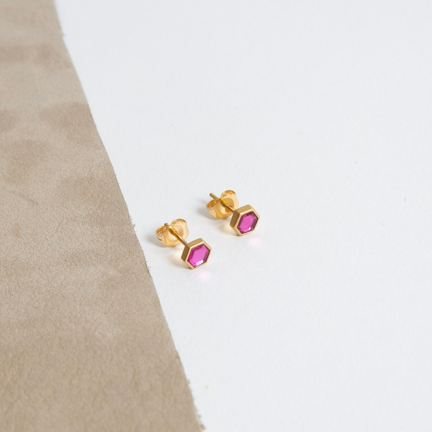 Lola Brooks<br>18K Natural Pink Sapphire Sequin Studs