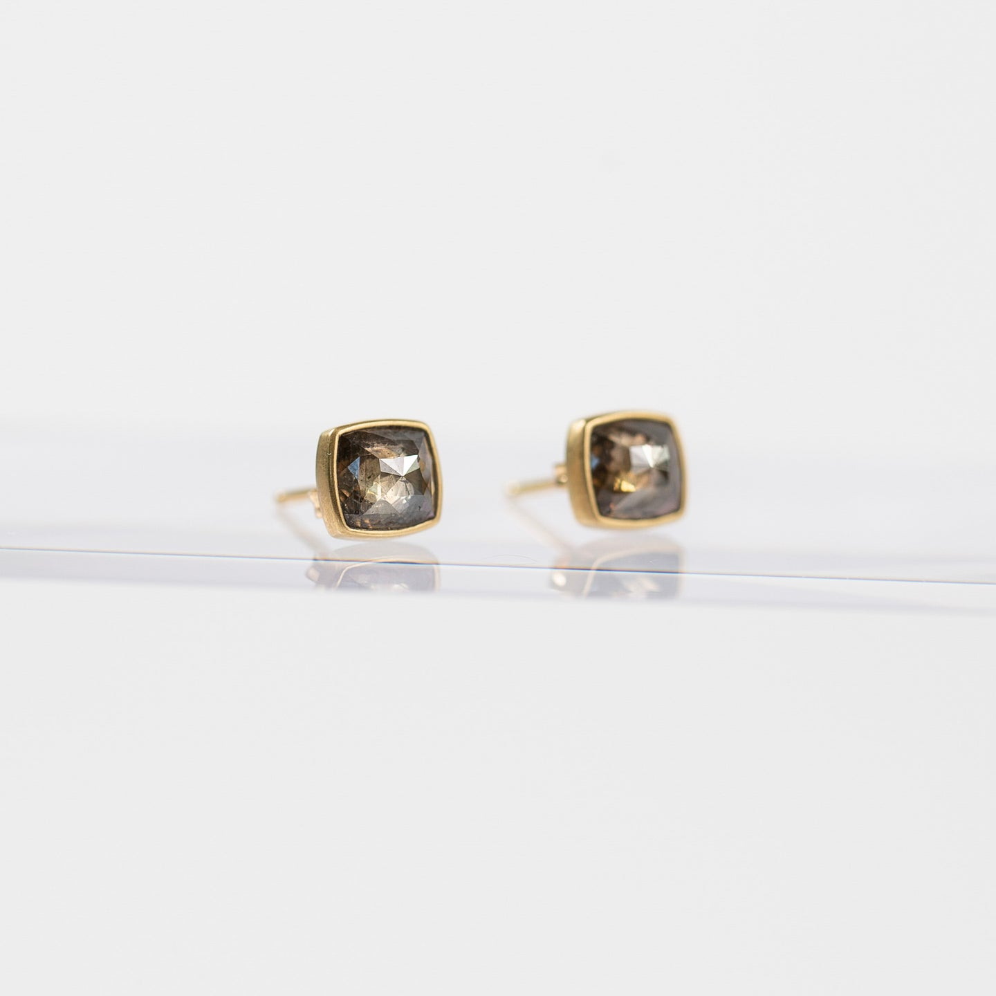 Lola Brooks<br>Cushion Cut Champagne Diamond Studs 2.17 carats 18K