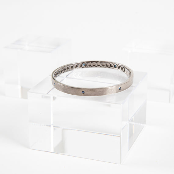 Meredith Marks<br> Sterling Silver Nick Bangle w/Blue Sapphires