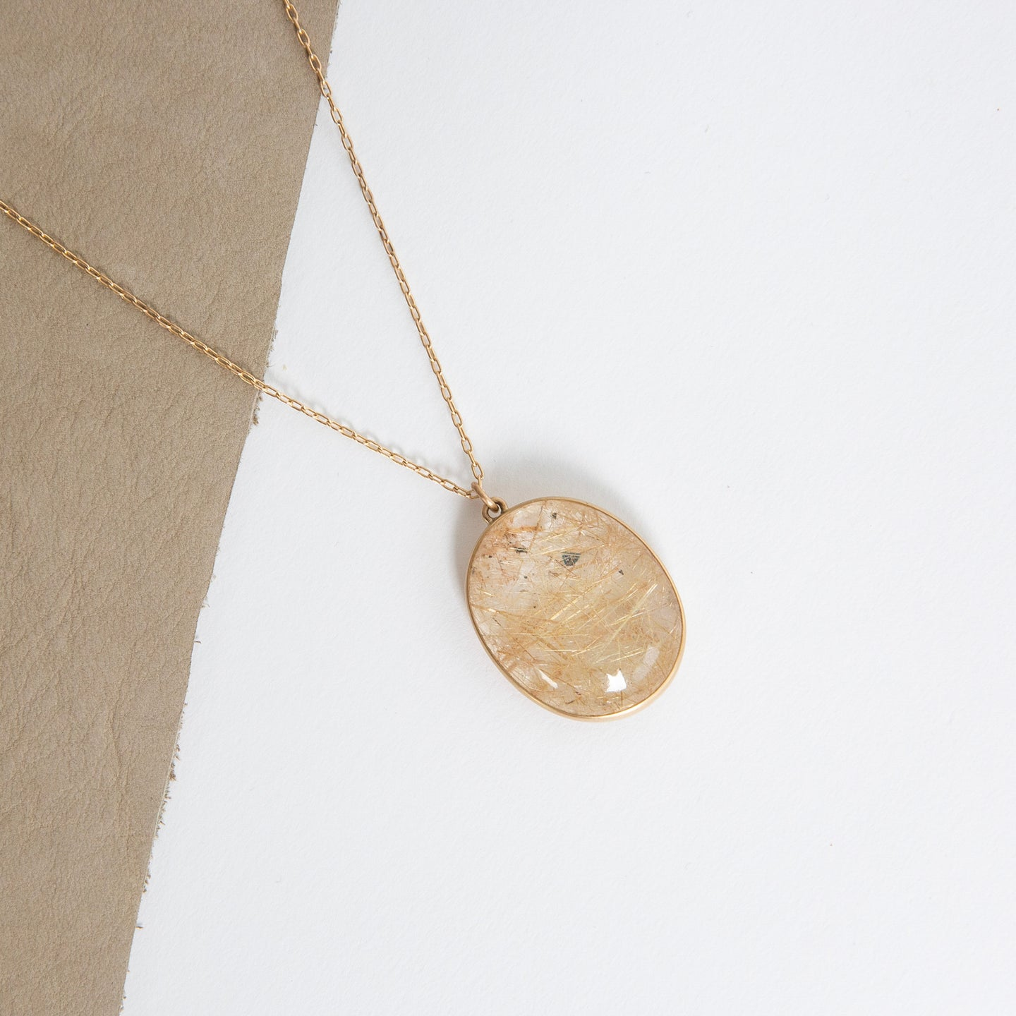 Lola Brooks<br>14K Oval Rutilated Quartz Pendant