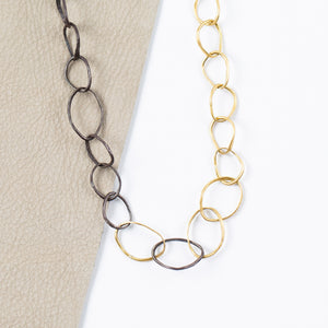 Rosanne Pugliese <br>Gold Oxidized Silver Pebble Necklace
