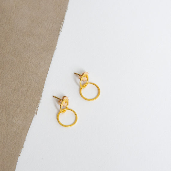 Rosanne Pugliese <br>22K Gold Small Double Circle Hoops/Post Earrings