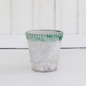 Pair of Vintage Green Rimmed Planters