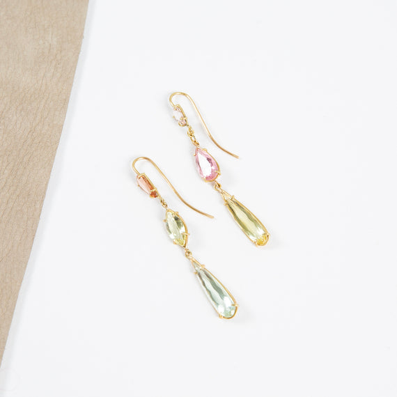 Rosanne Pugliese <br>18K Triple Layer Earrings Yellow, Green Beryl, Pink Tourmaline Gems