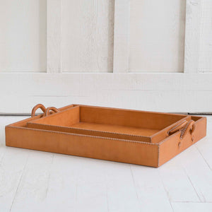 Nesting Leather Tray, Natural