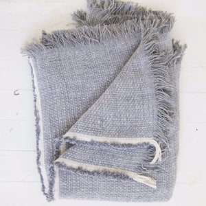 Belgian Linen Throw, Blue