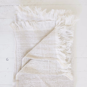 Belgian Linen Throw, Natural Pattern