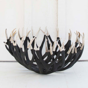 Extra Large Antler Bowl, Black and White