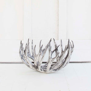 Antler Bowl, White Wash Over Black