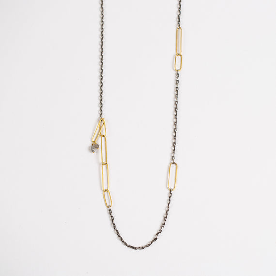 Rosanne Pugliese <br>Handmade Link Chains and Oxidized SIlver Chain, Grey Diamond Drops