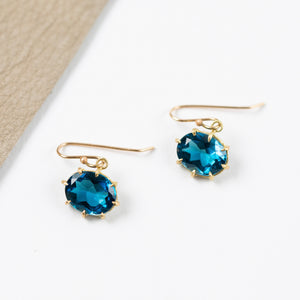 Rosanne Pugliese <br>London Blue Topaz faceted small Earrings