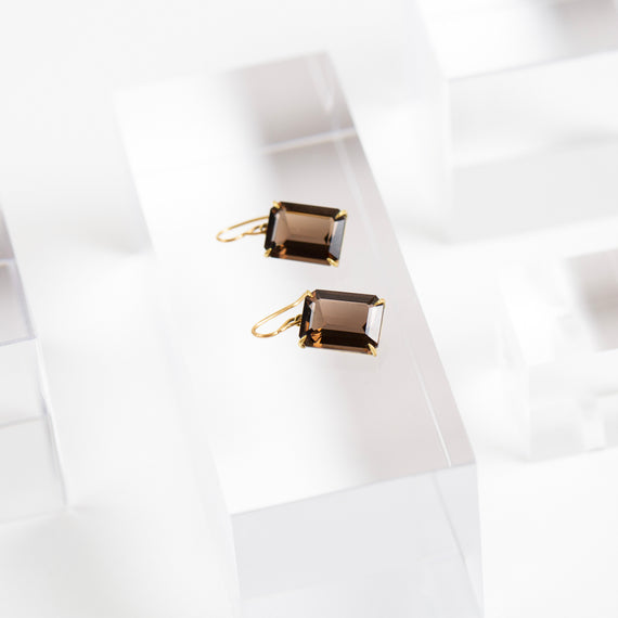Rosanne Pugliese <br>Emerald Cut Smokey Topaz Earrings