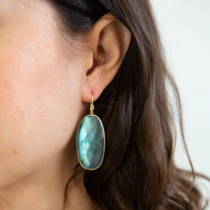 Lola Brooks<br>18K Labradorite Oval Earrings