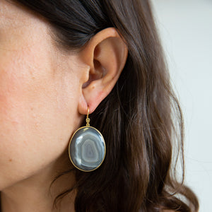 Lola Brooks<br>18K Oval Banded Agate Earrings