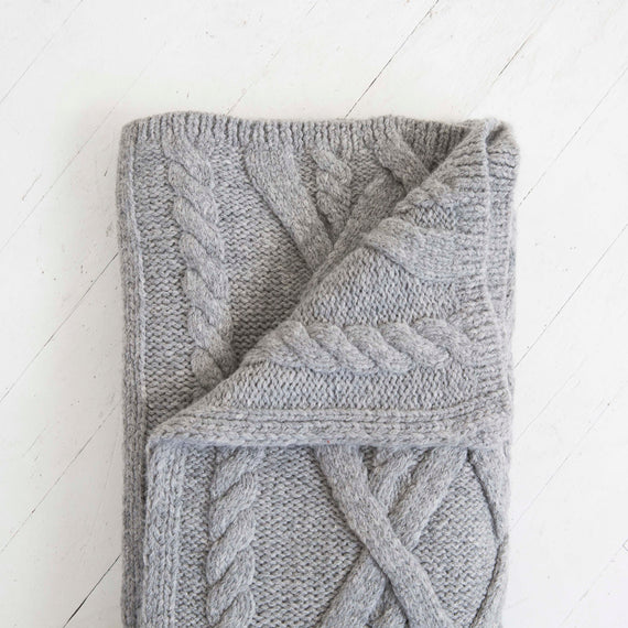 Cable Knit Baby Alpaca Throw