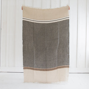 Brown and Black Linen Towel