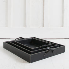 Nesting Leather Tray, Black