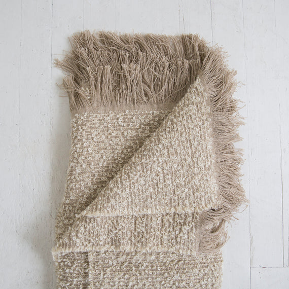 Linen and Mohair Bouclé Throw <br> Natural Bubbley