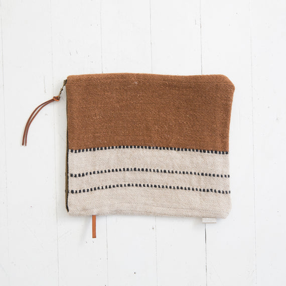 Linen and Wool Clutch in Brown