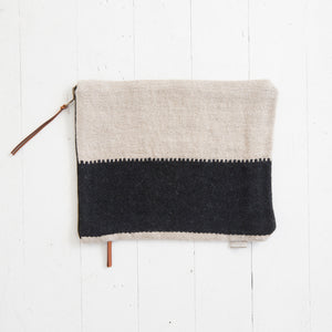 Linen and Wool Clutch in Black