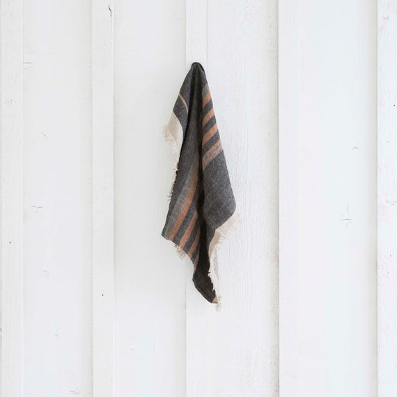 Black Stripe Linen Guest Towel