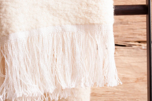 Linen-Alpaca Throw <br> Winter White