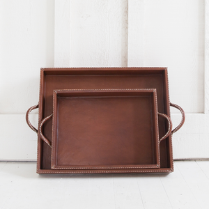 Nesting Leather Tray, Cognac