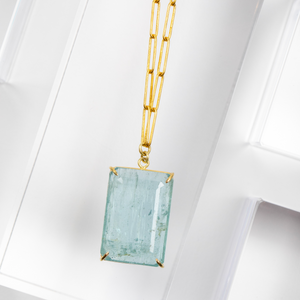 Rosanne Pugliese <br> Emerald Cut Aquamarine Necklace