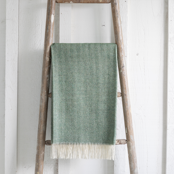 Baby Alpaca Throw <br> Grass Green