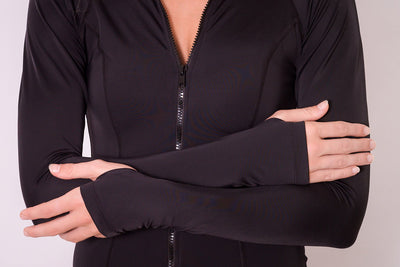 Black long sleeve zip front rashie with optional hand protection