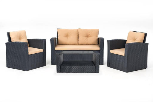 tan 4 piece conversation patio set
