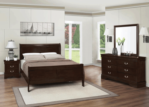 Louis Philippe Cappuccino Sleigh Bedroom Set - 2 Sizes