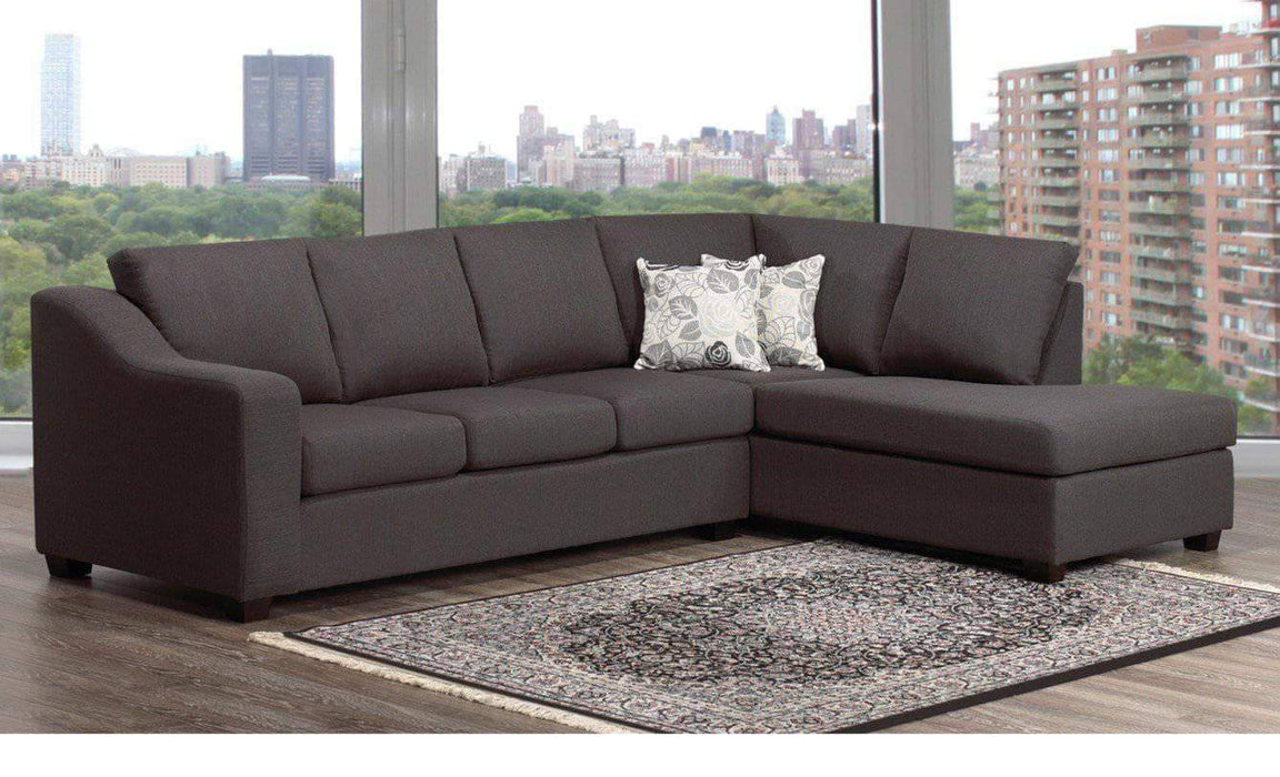 Aman Fabric Sectional RHF Chaise Florence Grey Fabric Sectional Sofa with Right or Left Facing Chaise