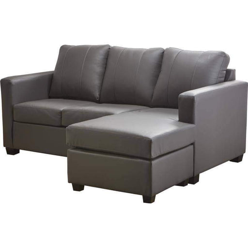 Aman Leather Sectional Grey Victoria Leather Sectional with Floating Chaise - Available in 2 Colours