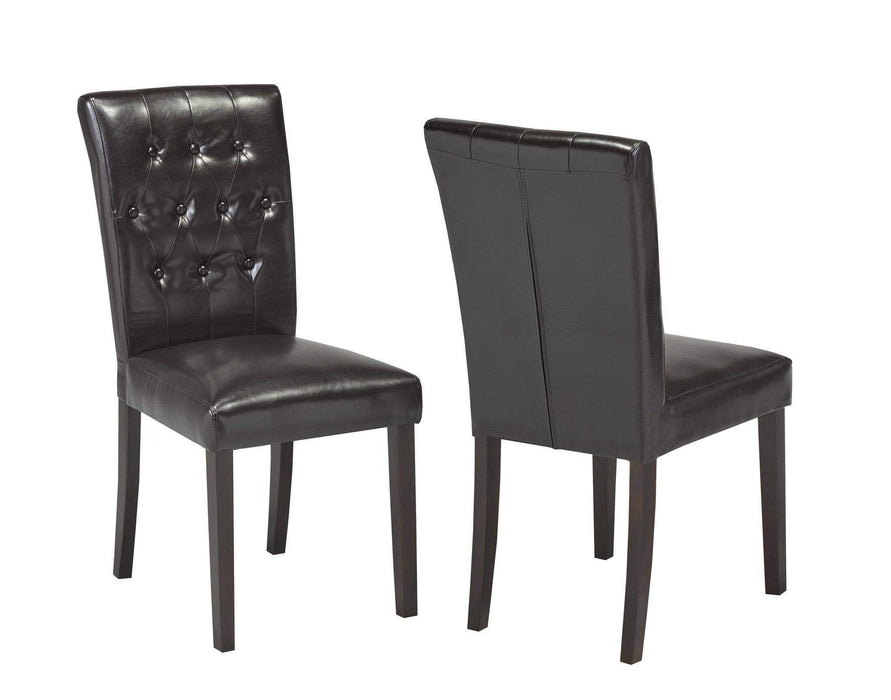 Brassex Inc. Accent Chair Espresso Tufted Dining Chair (Set of 2)