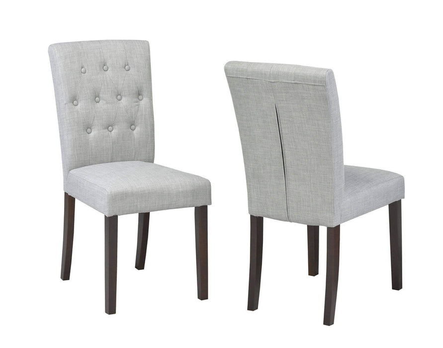 Brassex Inc. Accent Chair Grey Tufted Dining Chair (Set of 2)
