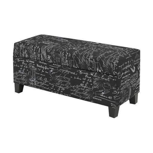 Brassex Inc. Benches & Ottomans Black Scripted Sahara Bench with Storage in Espresso, Black Scripted, City Print, Red, or White