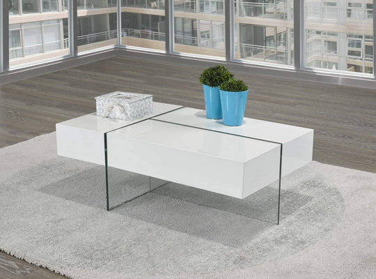 Brassex Inc. Coffee Table 3-Way Storage Coffee Table - White Glossy
