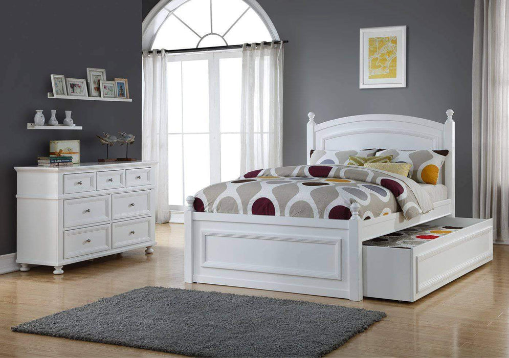 Caramia Furniture Bed White Bed with Dresser Melinda Full Size Bed Set with Trundle