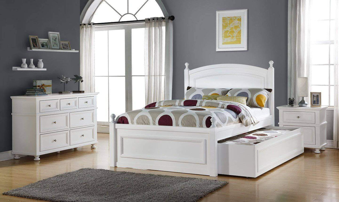 Caramia Furniture Bed White Bed with Nightstand and Dresser Melinda Full Size Bed Set with Trundle