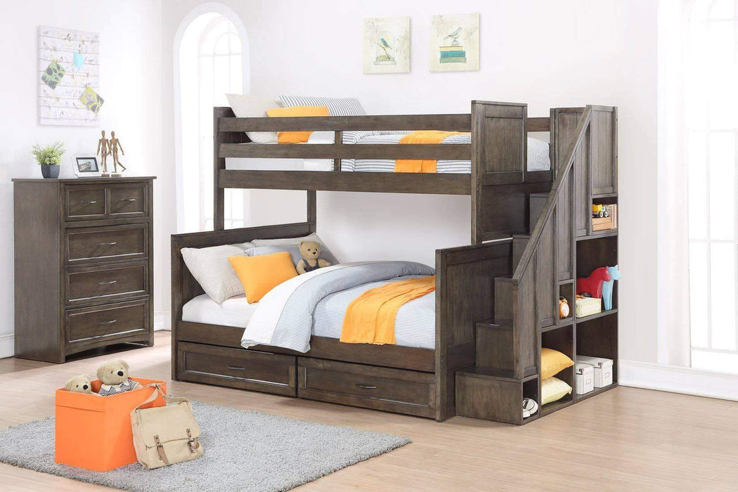 Caramia Furniture Bunk Bed Burnished Grey Bunk Bed and Chest Miller Twin Over Full Bunk Bed with Bookshelf Stairs and Underbed Storage Drawers