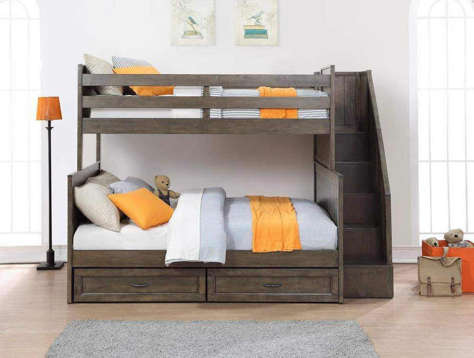 Caramia Furniture Bunk Bed Burnished Grey Bunk Bed Miller Twin Over Full Bunk Bed with Bookshelf Stairs and Underbed Storage Drawers