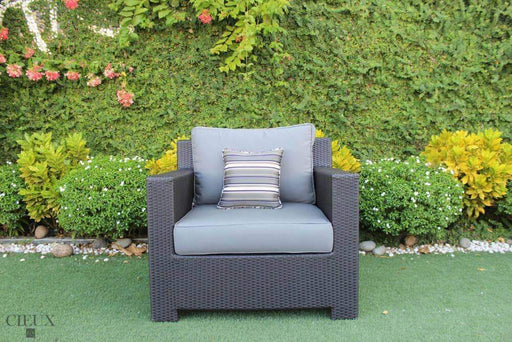 CIEUX Accessories Charcoal Grey Provence Patio Wicker Sunbrella Club Chair - Available in 3 Colours
