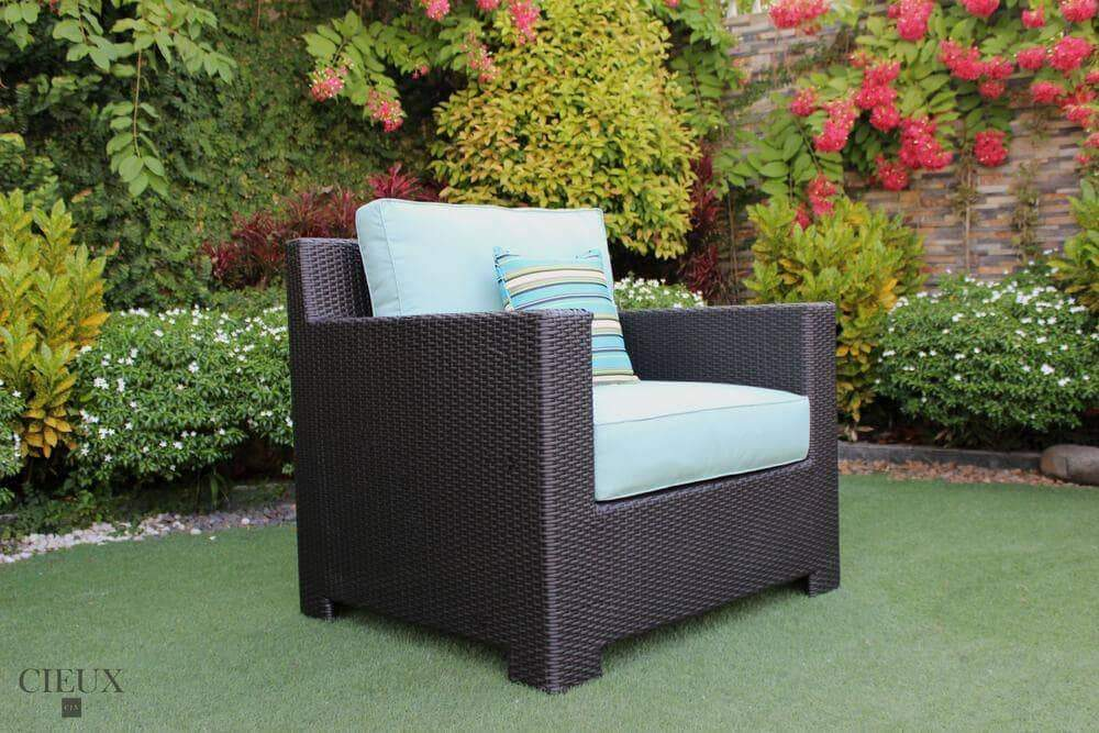 CIEUX Accessories Spectrum Mist Provence Patio Wicker Sunbrella Club Chair - Available in 3 Colours