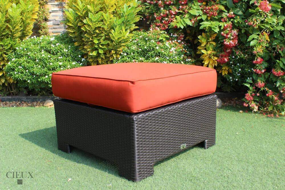 CIEUX Accessories Terracotta Red Provence Ottoman / Glass-Top Coffee Table - Available in 3 Colours
