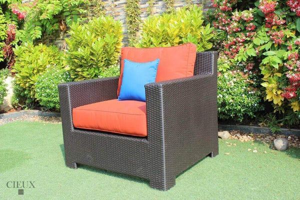 CIEUX Accessories Terracotta Red Provence Patio Wicker Sunbrella Club Chair - Available in 3 Colours