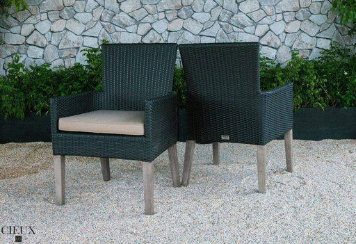 CIEUX Patio Dining Champagne Dark Chocolate Wicker Chairs