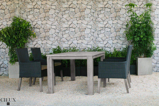 CIEUX Patio Dining Champagne Weathered Teak Table with Four Dark Chocolate Wicker Chairs