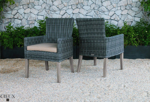 CIEUX Patio Dining Champagne Weathered Teak Table with Four Grey Wicker Chairs