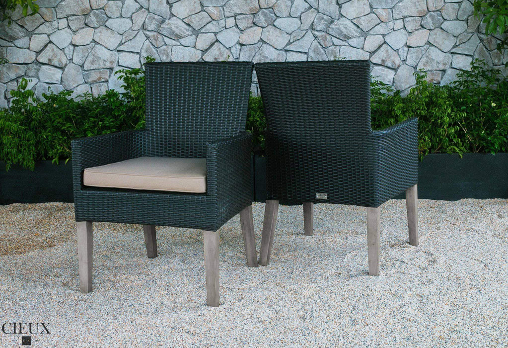 CIEUX Patio Dining Champagne Weathered Teak Table with Six Dark Chocolate Wicker Chairs